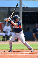 GCL Red Sox shortstop Hector Lorenzana (18) at bat during a game against the GCL Rays on June 24, 2014 at Charlotte Sports Park in Port Charlotte, Florida.  GCL Red Sox defeated the GCL Rays 5-3.  (Mike Janes/Four Seam Images)