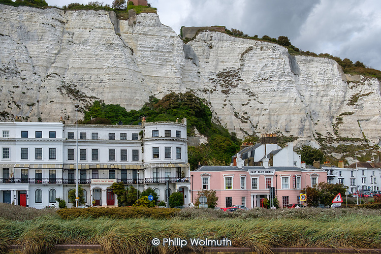 Victorian era hotels beneath the White Cliffs of Dover, Kent.
