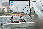 John McRoberts and Jackie Gay, Rio 2016 - Para Sailing // Voile adaptée.<br /> John McRoberts and Jackie Gay, Rio 2016 - Para Sailing // Voile adaptée.<br /> John McRoberts and Jackie Gay compete in the 2-Person Keelboat (SKUD18) // John McRoberts et Jackie Gay participent au quillard pour 2 personnes (SKUD18). 17/09/2016.