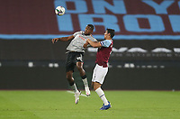 Charlton Athletic's Chuks Aneke and West Ham United's Fabian Balbuena<br /> <br /> Photographer Rob Newell/CameraSport<br /> <br /> Carabao Cup Second Round Northern Section - West Ham United v Charlton Athletic - Tuesday 15th September 2020 - London Stadium - London <br />  <br /> World Copyright © 2020 CameraSport. All rights reserved. 43 Linden Ave. Countesthorpe. Leicester. England. LE8 5PG - Tel: +44 (0) 116 277 4147 - admin@camerasport.com - www.camerasport.com