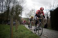 Jelle Wallays (BEL/Lotto-Soudal) riding the gutter up the Taaienberg<br /> <br /> 71st Dwars door Vlaanderen (1.HC)