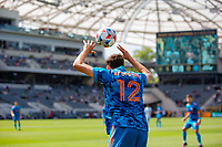 LOS ANGELES, CA - MAY 29: Malte Amundsen #12 of NYCFC with a throw in during a game between New York City FC and Los Angeles FC at Banc of California Stadium on May 29, 2021 in Los Angeles, California.