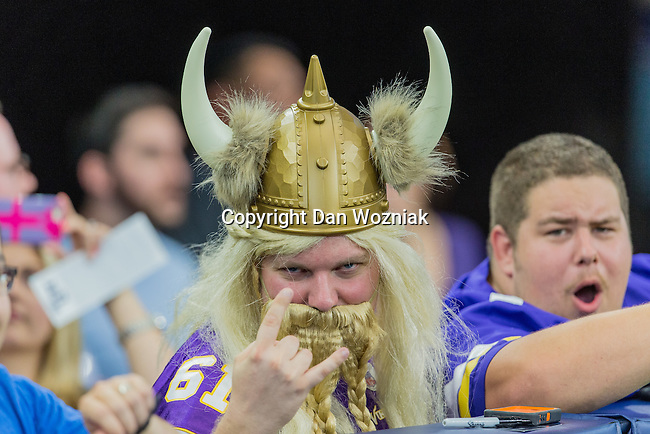 Minnesota Viking fans in action during the pre-season game between the Minnesota Vikings and the Dallas Cowboys at the AT & T stadium in Arlington, Texas. Minnesota defeats the Cowboys 28 to 14.