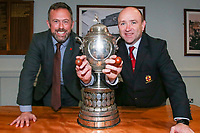 Monday 11th November 2019<br /> <br /> Jan Cunningham representing MMW Legal and Greg Irwin representing the Ulster Branch make the draw for the Semi-Final of this seasons MMW Legal Ulster Junior Cup which was held at Kingspan Stadium, Ravenhill Park, Belfast, Northern Ireland. Photo credit - John Dickson DICKSONDIGITAL