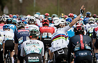World Champion Julian Alaphilippe (FRA/Deceuninck - QuickStep) at the back of the peloton, wanting to get rid of some rainbow clothing<br /> <br /> Stage 4 from Terni to Prati di Tivo (148km)<br /> <br /> 56th Tirreno-Adriatico 2021 (2.UWT) <br /> <br /> ©kramon