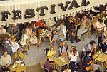 Cannes Film Festival Cafe society  festival goers sit and enjoy a cup of coffee, 1980 France.