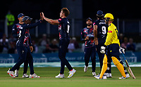 Fred Klaassen of Kent is congratulated by Daniel Bell-Drummond after taking the vwicket of Joe Weatherley during Kent Spitfires vs Hampshire Hawks, Vitality Blast T20 Cricket at The Spitfire Ground on 9th June 2021