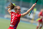 GER - Mannheim, Germany, May 05: During the women field hockey 1. Bundesliga match between Mannheimer HC (red) and Uhlenhorster HC Hamburg (light blue) on May 5, 2018 at Am Neckarkanal in Mannheim, Germany. Final score 1-3. (Photo by Dirk Markgraf / www.265-images.com) *** Local caption *** Cecile Pieper #3 of Mannheimer HC