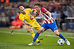 Filipe Luis of Atletico de Madrid battles for the ball with Timofei Kalachev of FC Rostov during their 2016-17 UEFA Champions League match between Atletico Madrid and FC Rostov at the Vicente Calderon Stadium on 01 November 2016 in Madrid, Spain. Photo by Diego Gonzalez Souto / Power Sport Images