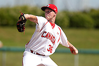 Team Canada Clayton Isherwood #36 delivers a pitch during an exhibition game vs. the Toronto Blue Jays at Al Lang Field in St. Petersburg, Florida;  March 4, 2011.  Toronto defeated Team Canada 9-0.  Photo By Mike Janes/Four Seam Images