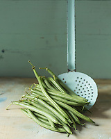 Gastronomie: Haricots verts  / Gastronomy: Green beans - Stylisme : Valérie LHOMME