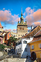 Medieval clock tower & gate of Sighisoara Saxon fortified medieval citadel, Transylvania, Romania