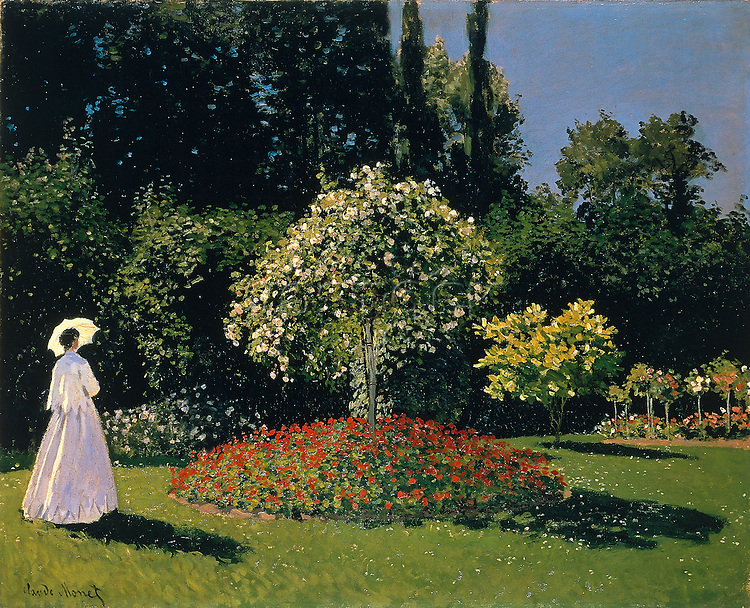 Claude Monet - Jeanne-Marguerite Lecadre in the Garden (1866). Saint Petersbourg, The State Hermitage Museum.