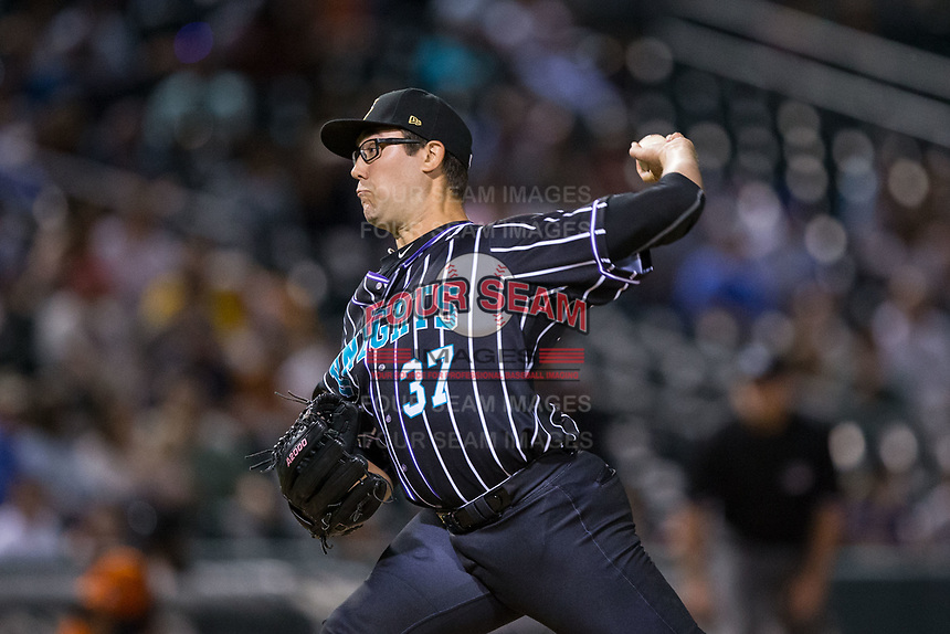Charlotte Knights relief pitcher Matt Purke (37) in action against the Norfolk Tides at BB&T BallPark on May 2, 2017 in Charlotte, North Carolina.  The Knights defeated the Tides 8-3.  (Brian Westerholt/Four Seam Images)