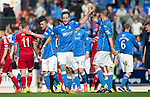 St Johnstone v Aberdeen...23.08.14  SPFL<br /> Birthday boy Steven MacLean celebrates at full time wth Dave Mackay<br /> Picture by Graeme Hart.<br /> Copyright Perthshire Picture Agency<br /> Tel: 01738 623350  Mobile: 07990 594431