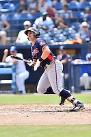 Rome Braves third baseman Austin Riley (13) swings at a pitch during a game against the Asheville Tourists at McCormick Field on August 21, 2016 in Asheville, North Carolina. The Braves defeated the Tourists 4-2. (Tony Farlow/Four Seam Images)