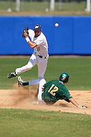 March 14, 2010:  Infielder Kevin Haas (27) of the Akron Zips loses the ball on a double play attempt during a game against the North Dakota State Bison at Chain of Lakes Park in Winter Haven, Florida.  (Mike Janes/Four Seam Images)
