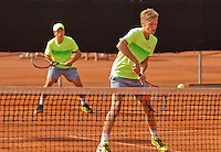 Netherlands, Rotterdam August 08, 2015, Tennis,  National Junior Championships, NJK, TV Victoria, Boys double: Julian Prins (R) and his partner Yannick Verwater<br /> Photo: Tennisimages/Henk Koster