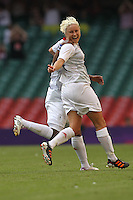 Joy for Stephanie HOUGHTON of Great Britain after she scores the first goal - Great Britain Women vs New Zealand Women - Womens Olympic Football Tournament London 2012 Group E at the Millenium Stadium, Cardiff, Wales - 25/07/12 - MANDATORY CREDIT: Gavin Ellis/SHEKICKS/TGSPHOTO - Self billing applies where appropriate - 0845 094 6026 - contact@tgsphoto.co.uk - NO UNPAID USE.