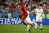 SARANSK - RUSIA, 25-06-2018: Masoud SHOJAEI (Der) jugador de RI de Irán disputa el balón con Joao MARIO (Izq) jugador de Portugal durante partido de la primera fase, Grupo B, por la Copa Mundial de la FIFA Rusia 2018 jugado en el estadio Mordovia Arena en Saransk, Rusia. / Masoud SHOJAEI (R) player of IR Iran fights the ball with Joao MARIO (L) player of Portugal during match of the first phase, Group B, for the FIFA World Cup Russia 2018 played at Mordovia Arena stadium in Saransk, Russia. Photo: VizzorImage / Julian Medina / Cont