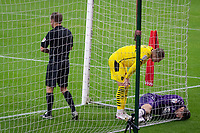 3rd October 2020; Riverside Stadium, Middlesbrough, Cleveland, England; English Football League Championship Football, Middlesbrough versus Barnsley; Marcus Bettinelli of Middlesbrough FC is hurt after making a save in top cormer of his goal