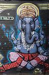 Street art outside Fiji Indian Market in Newtown, Sydney, NSW, Australia