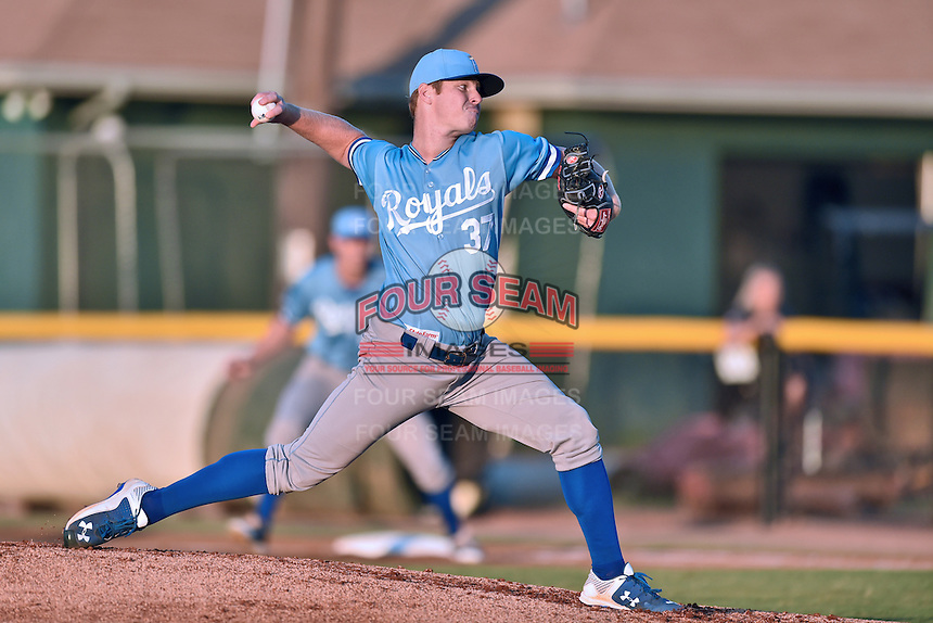 Burlington Royals starting pitcher David McKay (37) delivers a pitch during Game Two of the Appalachian League Championship series against the Johnson City Cardinals at TVA Credit Union Ballpark on September 7, 2016 in Johnson City, Tennessee. The Cardinals defeated the Royals 11-6 to win the series 2-0.. (Tony Farlow/Four Seam Images)
