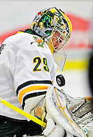 26 November 2010: University of Vermont Catamount goaltender Rob Madore, a Junior from Pittsburgh, PA, makes a first period save against the Northeastern University Huskies at Gutterson Fieldhouse in Burlington, Vermont. Madore turned away 23 shots as the Catamounts and the Huskies battled to a 2-2 tie. Mandatory Credit: Ed Wolfstein Photo