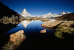 Matterhorn reflected in Riffelsee, Zermatt, Switzerland