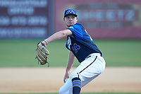 Martinsville Mustangs starting pitcher Will Davis (24) (Ferrum) in action against the High Point-Thomasville HiToms at Finch Field on July 26, 2020 in Thomasville, NC.  The HiToms defeated the Mustangs 8-5. (Brian Westerholt/Four Seam Images)