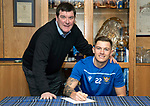 St Johnstone manager Tommy Wright pictured with striker Callum Hendry after he signed a new contract with saints…..31.01.20<br />