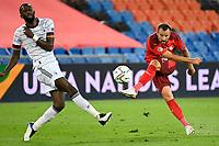 6th August 2020, Basel, Switzerland. UEFA National League football, Switzerland versus Germany;  Haris Seferovic, SUI shoots past the block of Antonio Rudiger, GER