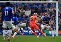 25th September 2021; Goodison Park, Liverpool, England; Premier League football, Everton versus Norwich; Matthias Normann of Norwich City attempts a long range shot at goal