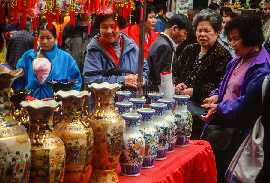 Vases for Sale at Chinese New Year Street Fair, Chinatown, San Francisco, California, USA.