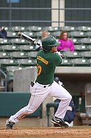 George Mason outfielder Josh Leemhuis #10 at bat during a game against the West Virginia Mountaineers at BB&T Coastal Field on February 26, 2012 in Myrtle Beach, SC.  George Mason defeated West Virginia 1-0. (Robert Gurganus/Four Seam Images)