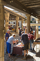 France, Aude (11), Lagrasse, labellisé Les Plus Beaux Villages de France, Jour de marché place de la Halle//   France, Aude, Lagrasse, labelled Les Plus Beaux Villages de France (The Most Beautiful Villages of France),  Day market place of Halle