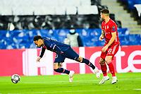 13th April 2021; Parc de Princes, Paris, France; UEFA Champions League football, quarter-final; Paris Saint Germain versus Bayern Munich;  Neymar Jr (PSG) goes over from contact with Lucas Hernandez (Bayern)