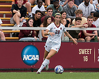 NEWTON, MA - AUGUST 29: Sarai Costello #28 of Boston College looks to pass during a game between University of Connecticut and Boston College at Newton Campus Soccer Field on August 29, 2021 in Newton, Massachusetts.