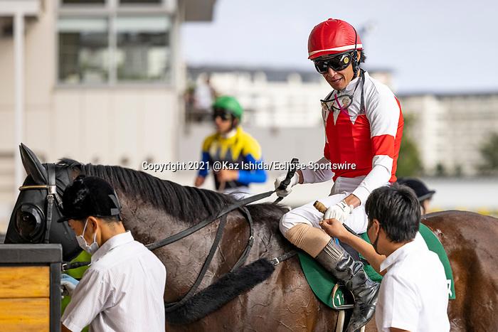 HAKODATE,JAPAN-AUG 8: Suave Aramis,ridden by Daisaku Matsuda,after winning the Elm Stakes at Hakodate Racecourse on August 8,2021 in Hakodate,Hokkaido,Japan. Kaz Ishida/Eclipse Sportswire/CSM