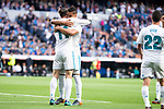 Real Madrid Gareth Bale and Carlos Henrique Casemiro celebrating a goal during La Liga match between Real Madrid and Celta de Vigo at Santiago Bernabeu Stadium in Madrid, Spain. May 12, 2018. (ALTERPHOTOS/Borja B.Hojas)