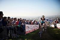 the ever fighting Tom Meeusen (BEL/Telenet-Fidea) on top of the Koppenberg<br /> <br /> Elite Men's race<br /> Koppenbergcross 2015