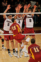 18 January 2008: Evan Romero, Charley Henrickson, and Matt Ceran during Stanford's 3-1 win over USC at Maples Pavilion in Stanford, CA.