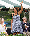 Doubles great, Gigi Fernandez (USA) waves at  the 2015 Induction Ceremony at the International Tennis Hall of Fame, Newport, RI USA.  The ceremony took place on July 18, 2015