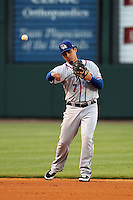 Round Rock Express shortstop Luis Cruz #7 throws to first during a game versus the Memphis Redbirds at Autozone Park on April 28, 2011 in Memphis, Tennessee.  Memphis defeated Round Rock by the score of 6-5 in ten innings.  Photo By Mike Janes/Four Seam Images