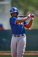 Texas Rangers Josh Morgan (2) during an instructional league game against the Arizona Diamondbacks on October 10, 2015 at the Salt River Fields at Talking Stick in Scottsdale, Arizona.  (Mike Janes/Four Seam Images)