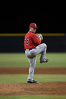 AZL Angels relief pitcher Cody Eckerson (56) delivers a pitch during an Arizona League game against the AZL Giants Black at the San Francisco Giants Training Complex on July 1, 2018 in Scottsdale, Arizona. The AZL Giants Black defeated the AZL Angels by a score of 4-2. (Zachary Lucy/Four Seam Images)