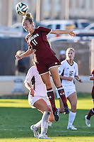 South Carolina midfielder Chelsea Drennan (11) goes up for a header during NCAA soccer game, Sunday, October 26, 2014 in College Station, Tex. South Carolina draw 2-2 against Texas A&M in double overtime. (Mo Khursheed/TFV Media via AP Images)