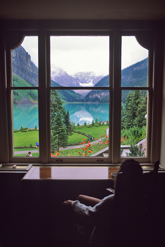 Lake Louise through window. Canada.