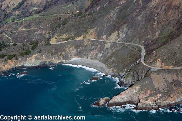 aerial photograph of a beach, Big Sur, Monterey County, California