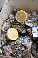 Restaurant. Selling oysters to go takeaway. Bordeaux city, Aquitaine, Gironde, France